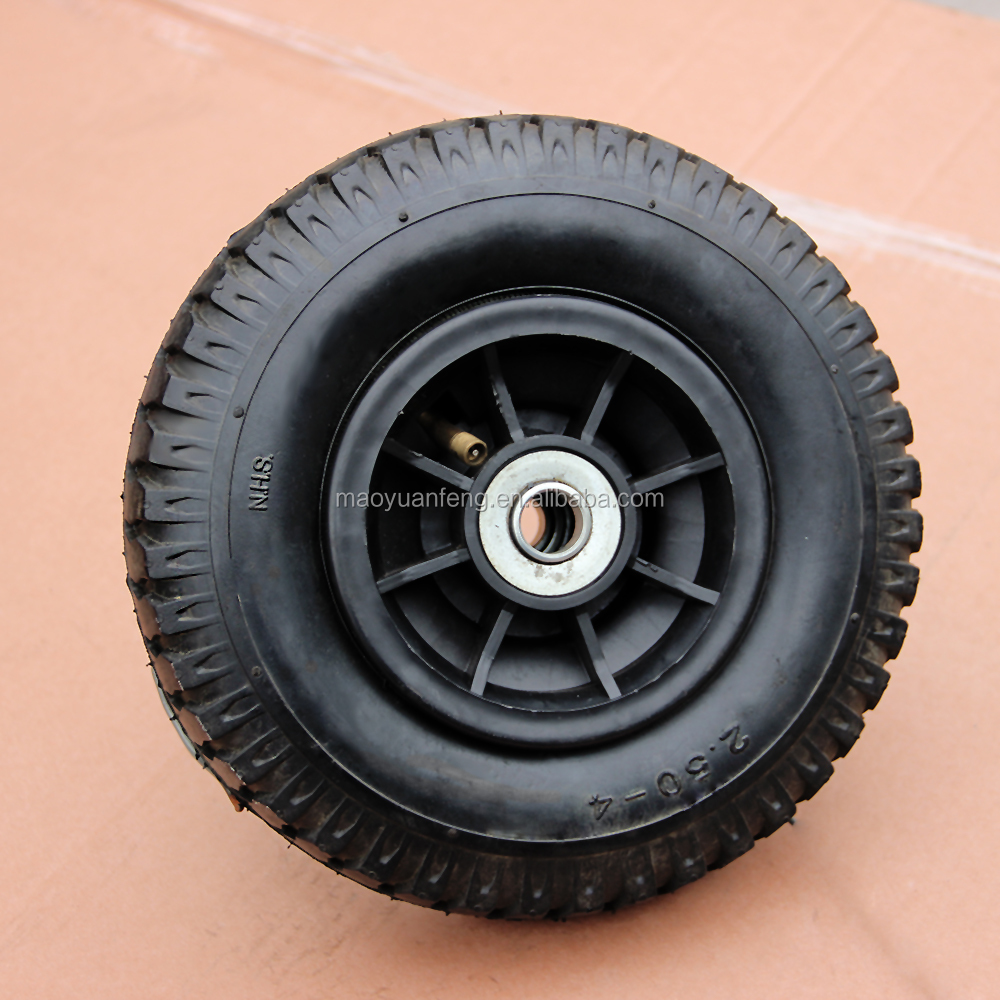 8inch 2.50-4 small rubber wheel pneumatic wheel with ball bearing and inner tube with TR87 for had trolly and garden carts
