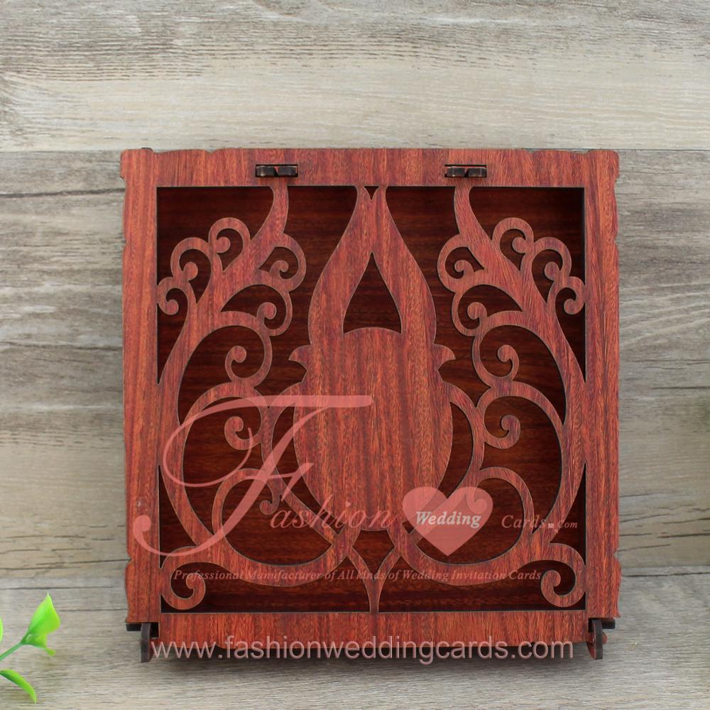 Chinese Handmade Engrave Marathi Red Wooden Wedding Invitation Card ...