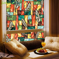 45x200cm Wholesale EN71-3 PVC Vinyl Glass Window Film Roll Non Self-adhesive Cling Stained Glass Decorative Film