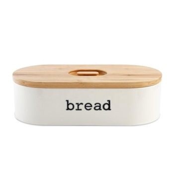 Vintage Retro Metal Powder Coated Bread Bin Storage with Bamboo Cutting Board Lid for Kitchen