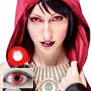 Realcon Halloween Lenses Cosplay Crazy Fancy Red Color Contact Lens