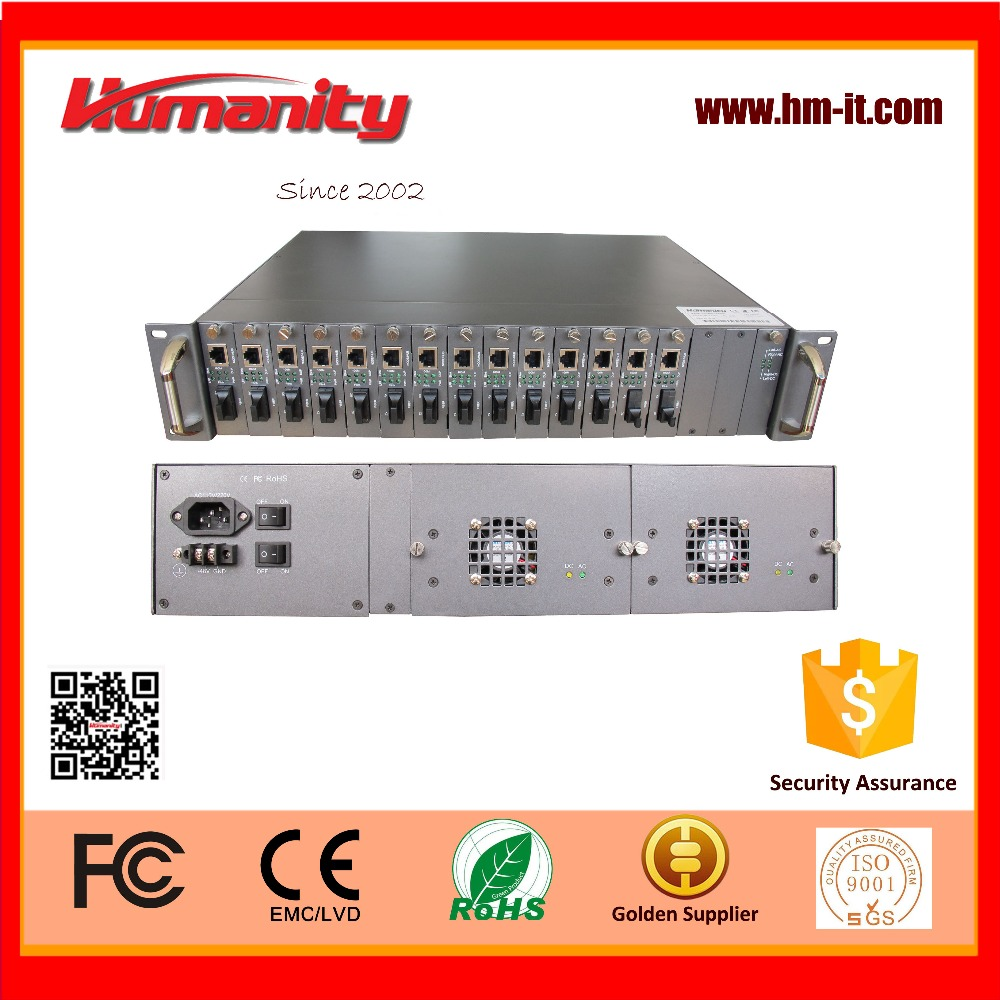 Humanity HM-T100K 2U 19inch FE and GE media converter rack chassis