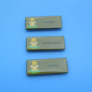 Offset printed company logo and staff name metal name badges