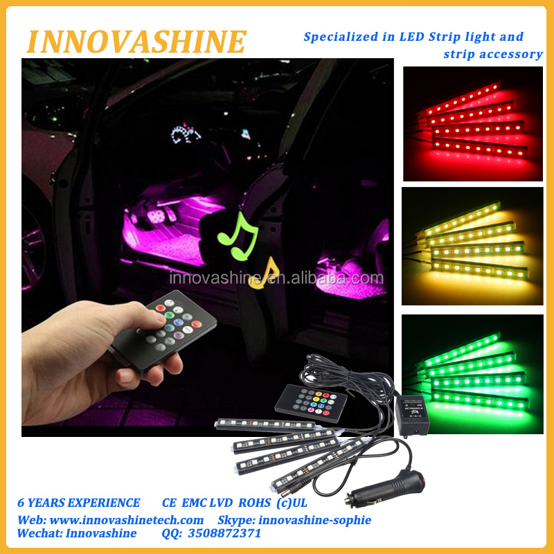 Color changing 4Pcs RGB 5050 Auto lamp Remote Control interior music Strip Atmosphere led light car 12v with Cigarette Lighter