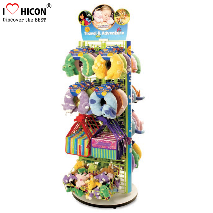 Custom Flooring Metal Spinner Advertising Baby Shop Hanging Plush Toy Display Stand For Sale