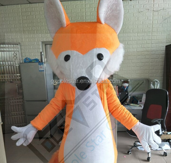 cartoon orange fox mascot costumes big tail custom color and size