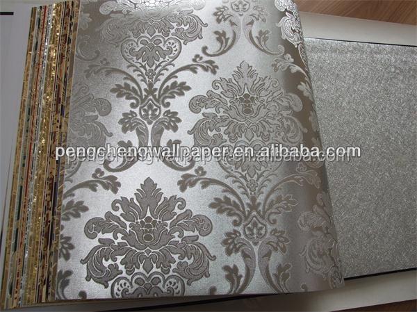 insonorizzate damasco argento foglio di carta da parati per ...
