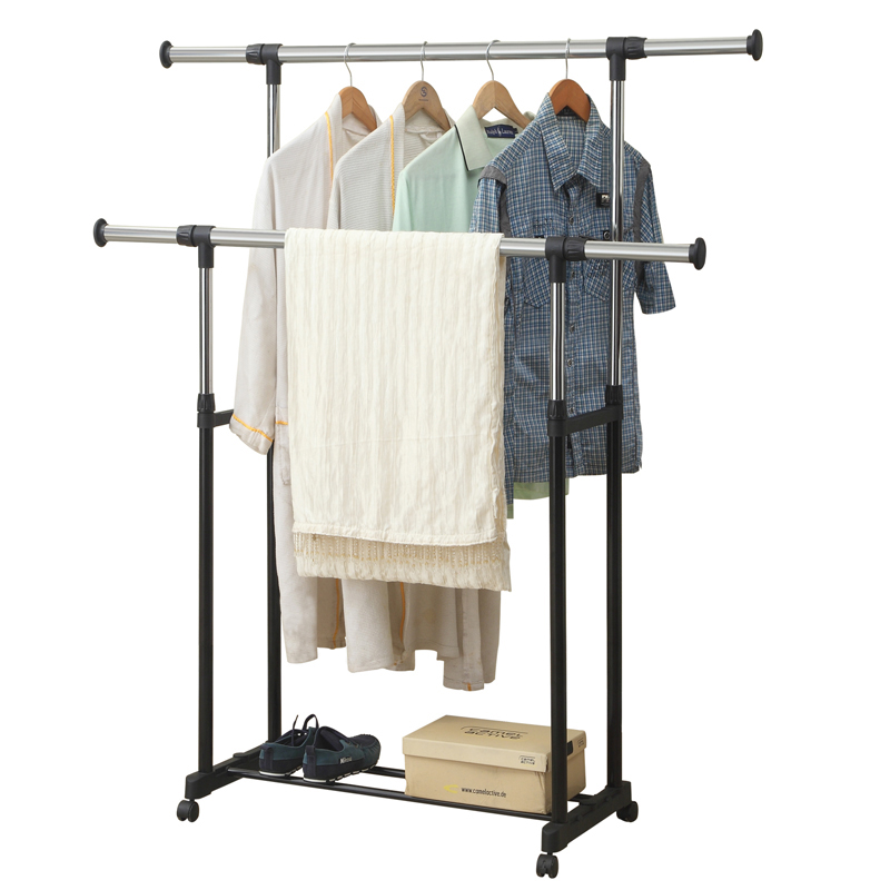 Indoor Stainless Folding Garment Airer Hanging Clothes Dryer Double Rail Pole Clothes Drying Rack