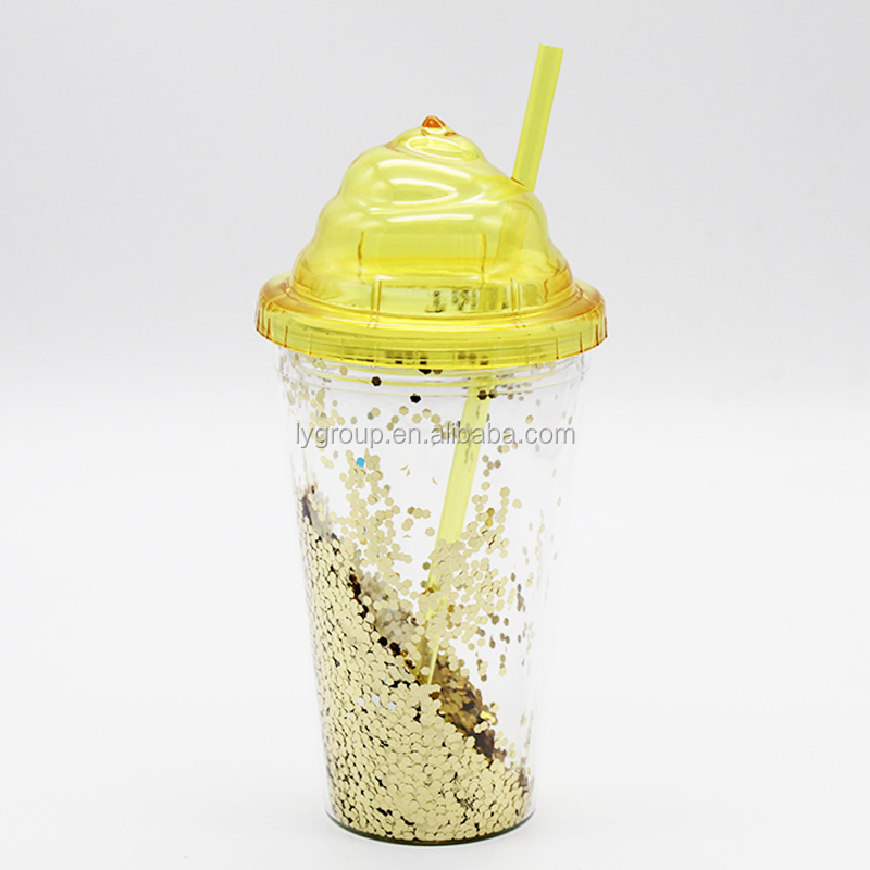 Double wall insulated plastic confetti tumbler with ice cream lid, plastic giltter Fragment insert tumbler with straw