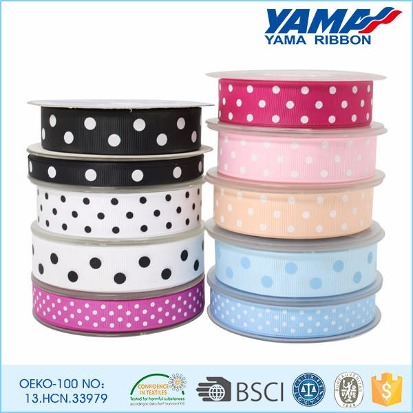 Wholesale custom printed polka dot grosgrain ribbon