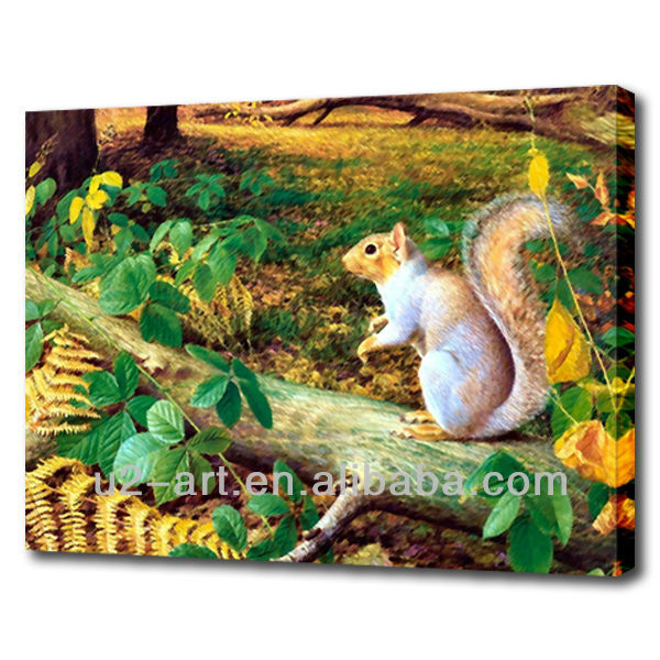 Natural squirrel animal painting on canvas