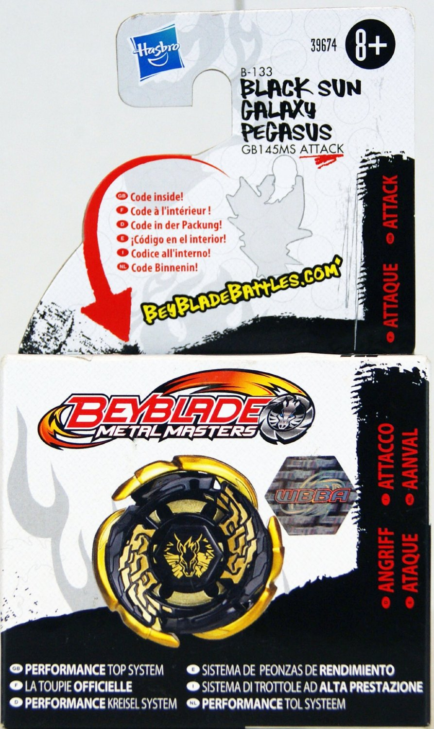 Beyblade - Metal Masters - Attack Battle Top #B133 - LIMITED COLLECTORS EDITION - Black Sun Galaxy Pegasus GB145MS Attack