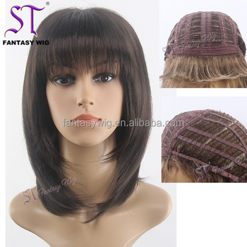 Natural Black Short Bob Wig For Women Best Quality Synthetic Hair Pubic Wig  For Women 7fd05ca135