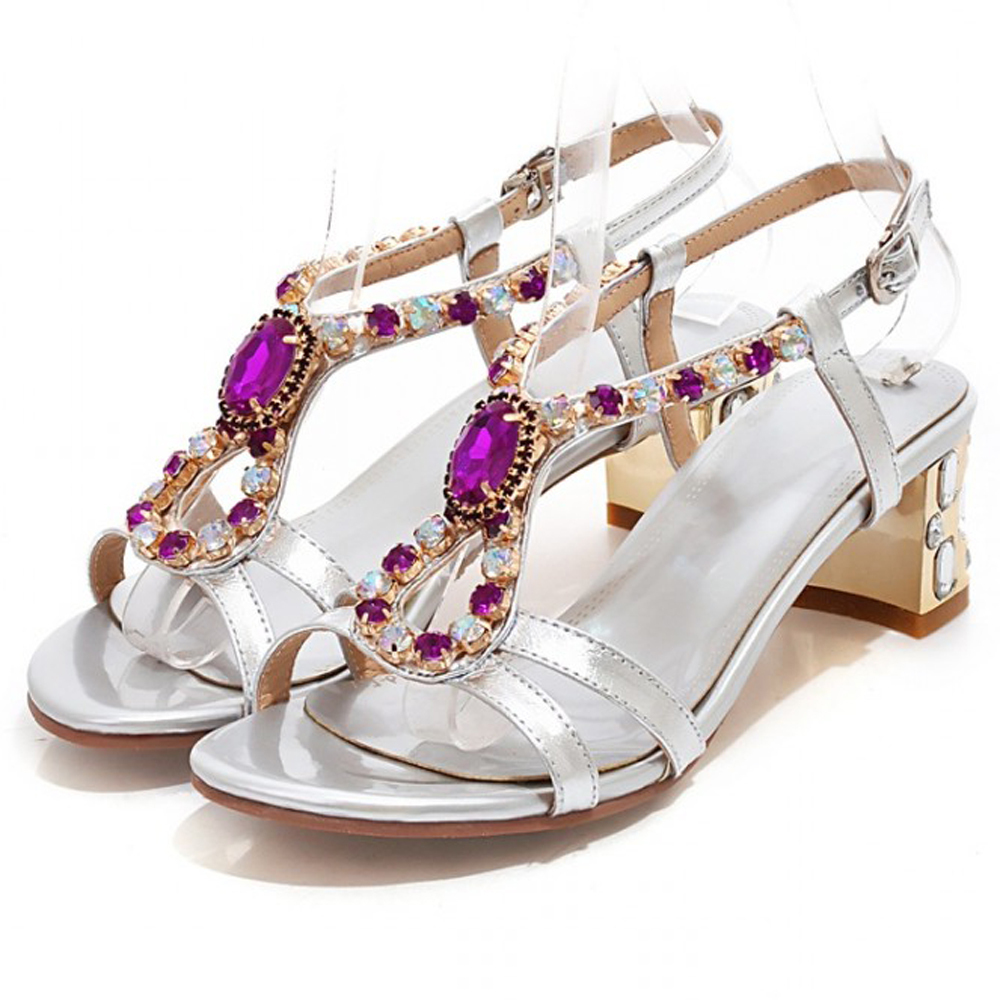 Get Quotations · Women Sandals Real Leather Mid Heels Sandals Open Toe  Bridal Sliver Heel Sandals Rhinestone Gold Shoes 3f9d058f6f44