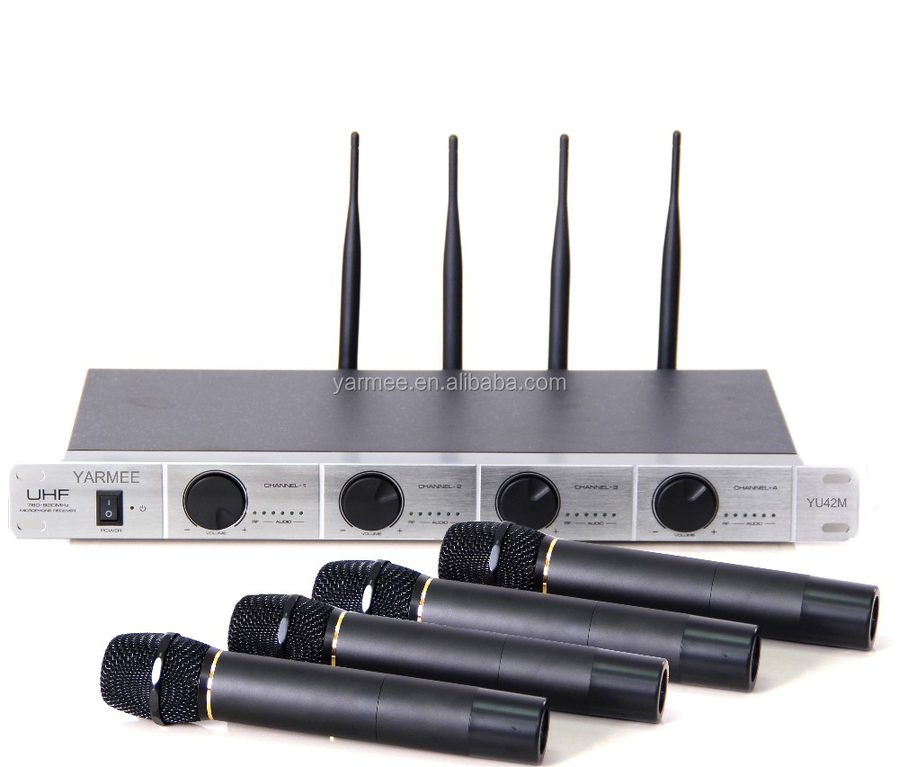 2017 4 Channels UHF Wireless Karaoke Microphone YU42 from Yarmee