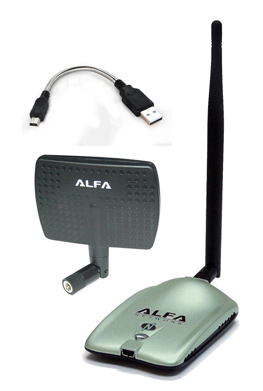 Alfa AWUS036NH 2000mW 2W 802.11g/n High Gain USB Wireless G / N Long-Range WiFi Network Adapter with 5dBi Screw-On Swivel Rubber Antenna and 7dBi Panel Antenna and Mini bendable Flex cable