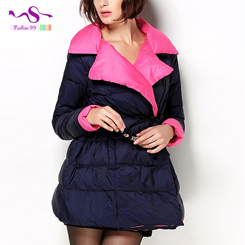 Europe and America Slim winter down jacket 2015 new fashion and long sections Large lapel jacket winter coat women YT28