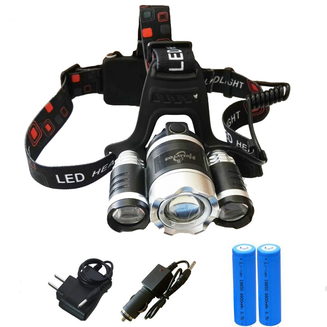 Skycoolwin Ultra Bright Zoomable LED Headlamp Flashlight - 4 Light-Modes. Perfect Hands-Free Portable Work light and Power Sports Headlight