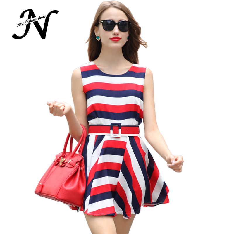 Summer Women Dress 2015 Fashion Red Yellow White Patchwork Striped Loose Casual Sleeveless European Style Dress With Belt 2606