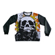 PU Leather Sleeves Crewneck Sweatshirt Men Printed Sweatshirts