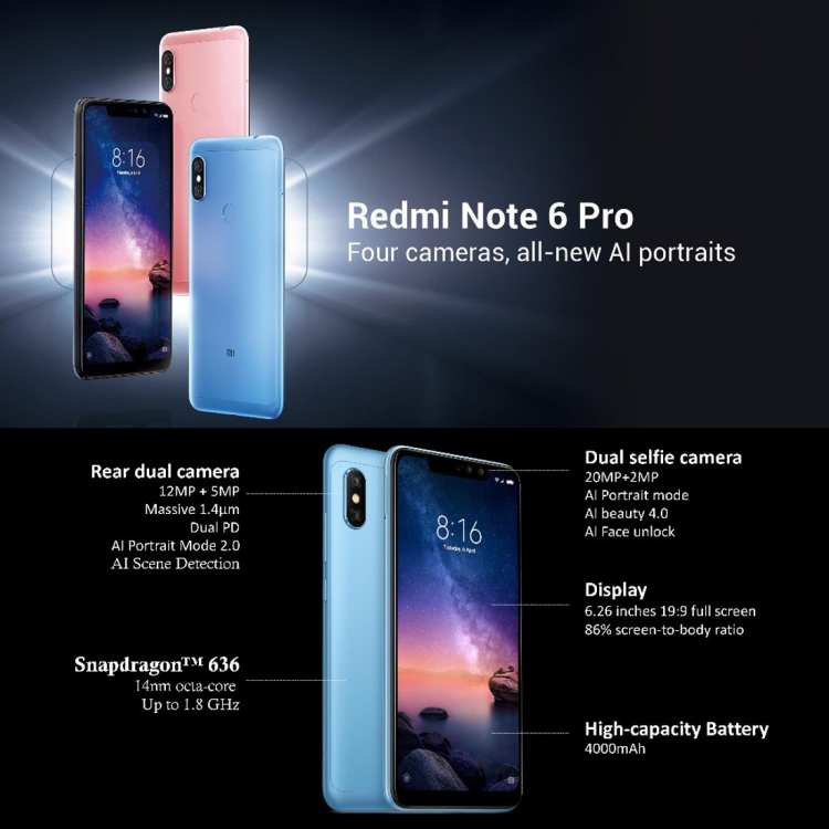 Free Gift Unlock Global Official Version Xiaomi Redmi Note 6 Pro 3gb+32gb  Phone - Buy E71 Pro China Mobile Phone,6 Inch C3 Android Phone,6 Smart Cell
