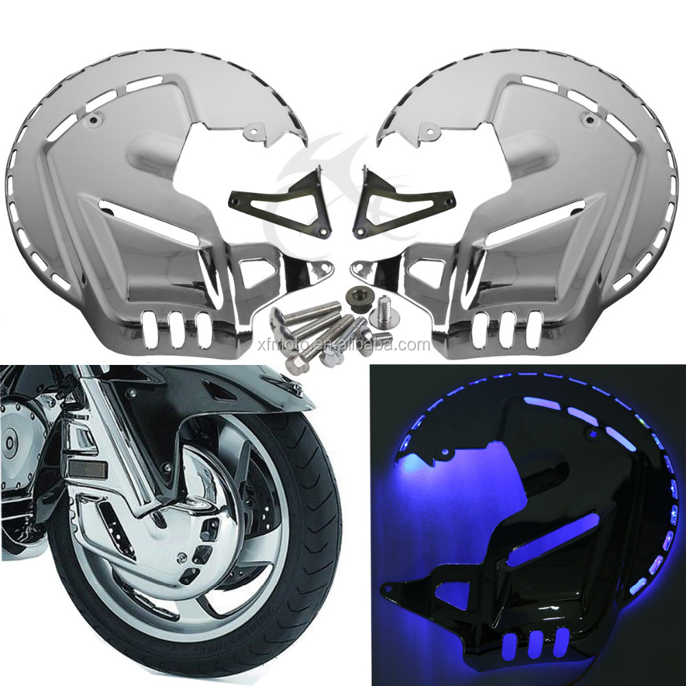 Chrome Brake Rotor Covers W/LED Ring Of Fire For Honda GOLDWING GL1800 2001-2014