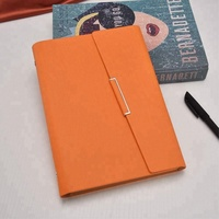 Orange Color A5 Size 3 Fold PU Women's Leather Portfolio Folder