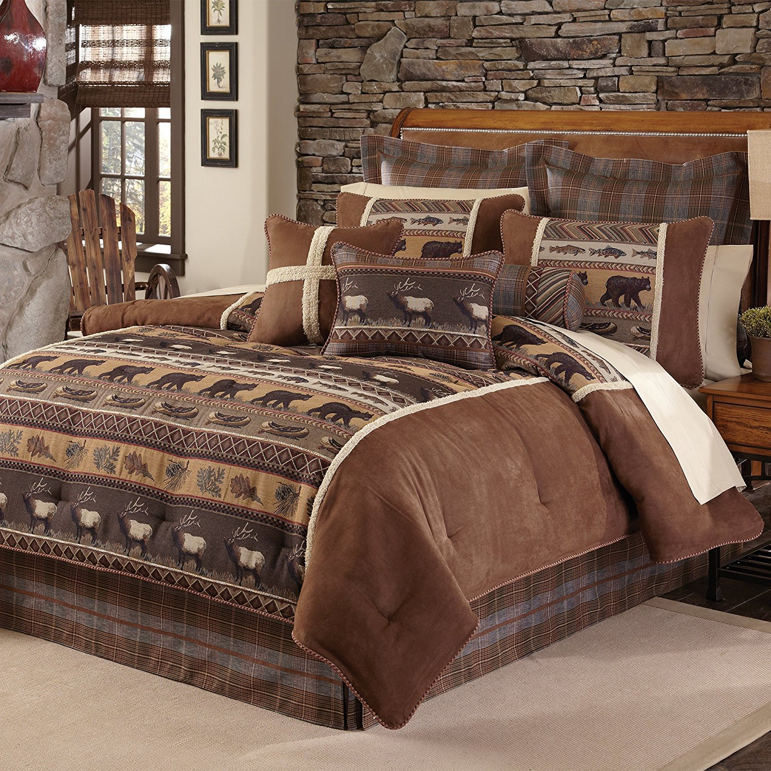 4 Piece Brown Cabin Themed Comforter Queen Set, Lodge Bedding Bears Fish Canoe Deer Forest Leaves Southwest Pattern Native American Rustic Animal Country, Polyester