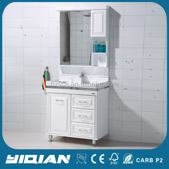 Contemporary Waterproof PVC Bathroom Mirror Cabinet Floor Mounted Vanity Cabinets Modern
