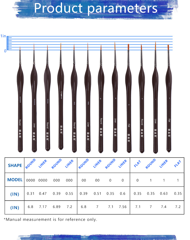 12pcs mahogany miniature art natural bristle paint brush set
