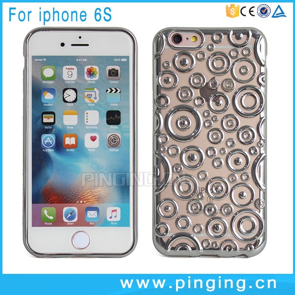 3D Concentric Circle Bubble Pattern Electroplate TPU Case For i Phone 6S, For iPhone Case