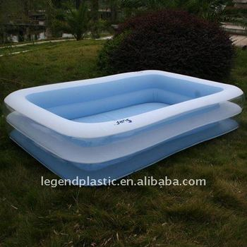 Inflatable 3-ring Rectangular Play Pool