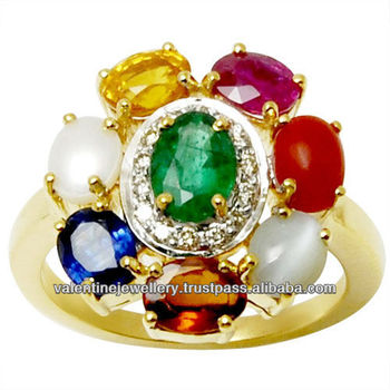 All Birthstone Navratna Gold Jewelry Ring Design Raashiratan