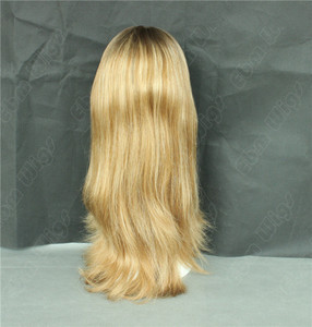 Top quality Best seller dark root Light color blond Jewish wig kosher wigs virgin brazilian hair, human hair wigs
