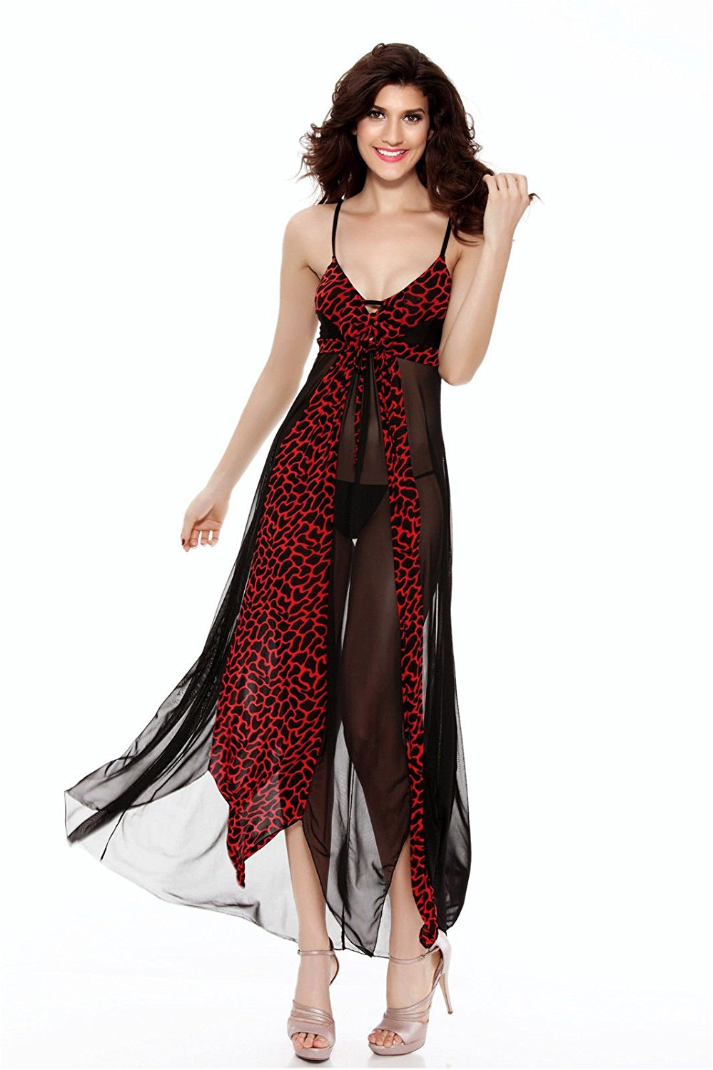 6303fdbf54 Get Quotations · Horny Time - RED HOT LONG GOWN Womens Sexy Lingerie  Leopard-grain Sleepwear Babydoll Dress