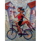 Full Square Round Diamond Painting Comic 5d Diy Diamond Embroidery Ride A Bike Home Decor Picture Mosaic Rhinestone