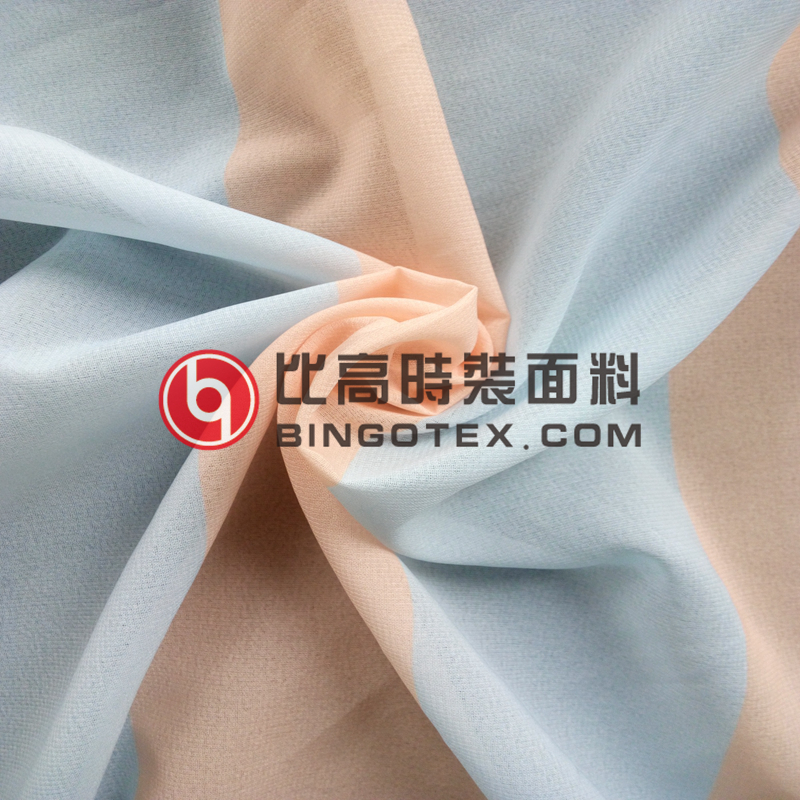 Wholesale High quality Polyester strip Fade Print fabric for dess shirt fabric