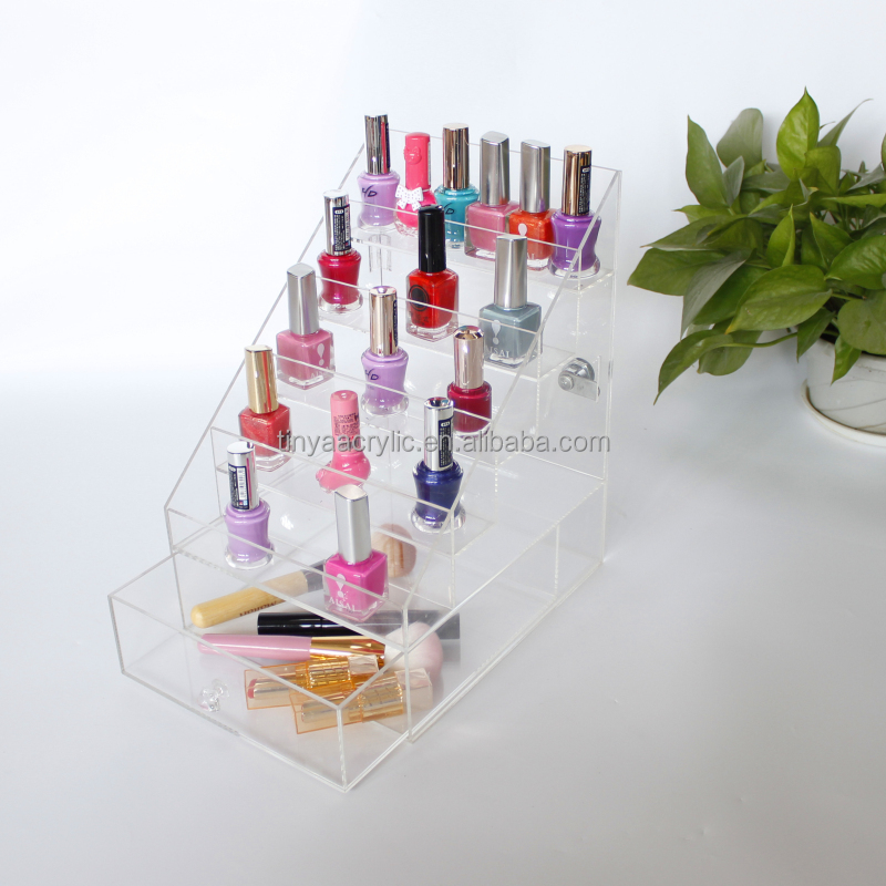 Chinese Supplier Clear Cosmetics Makeup Organizer Opi Nail Polish Display Rack Nail Polish Drawer Organizer Acrylic Stand Holder