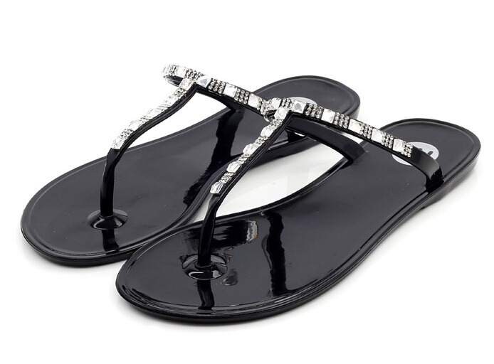 2015 flip flop summer crystal transparent slippers rhinestone jelly shoes woman chaussure beach. Black Bedroom Furniture Sets. Home Design Ideas
