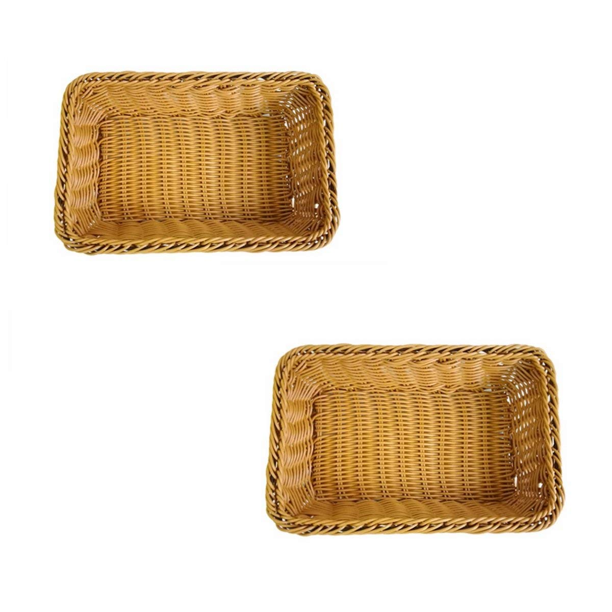 Set of 2, Small Size Woven Storage Baskets, Bread Fruit Serving Baskets, Gift Baskets, Restaurant/Pantry Display Baskets, Organization Baskets in Closet/Kitchen/Bathroom/Church/Dresser (2, Brown)