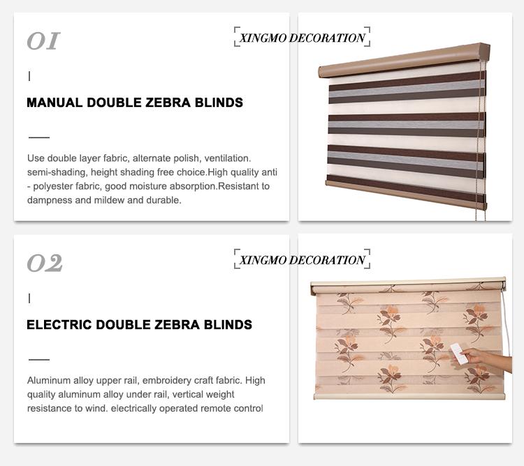Wholesale Indoor Window Manual And Motorized Zebra Blinds Remote Control Zebra Blinds