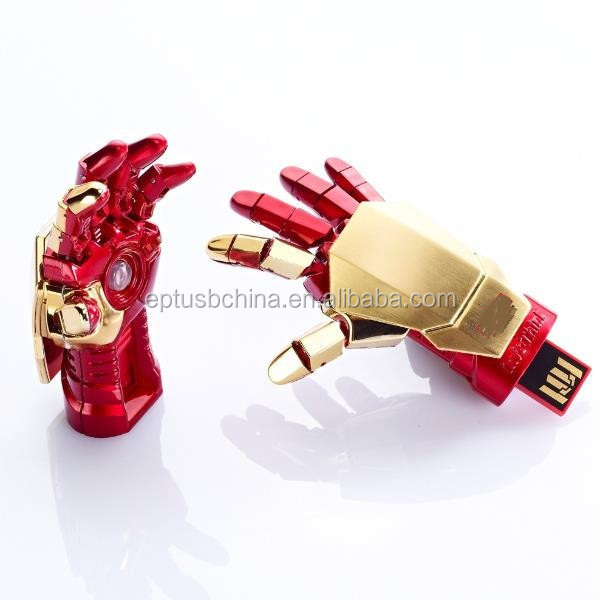 Unique gift Metal iron man and hand shape usb flash drive