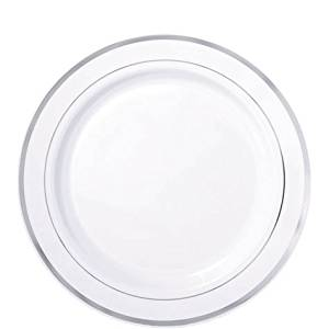 White with Silver Trim Premium Quality Plastic 7in Plates 24ct  sc 1 st  Alibaba & Cheap Silver Trim Plastic Plates find Silver Trim Plastic Plates ...