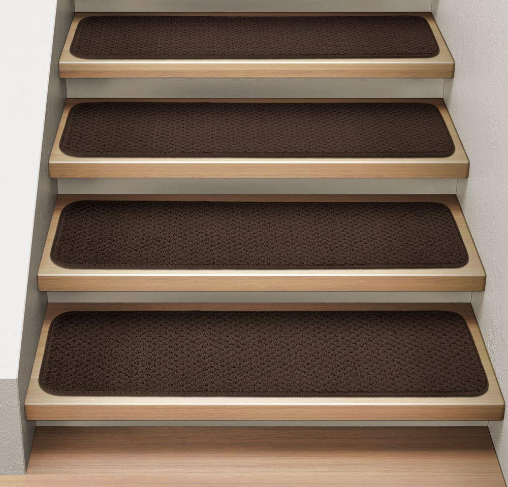 Set of 15 Attachable Carpet Stair Treads Chocolate Brown Runner Rugs