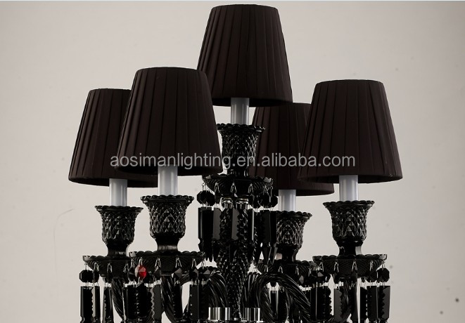 Baccarat Style Black Crystal Table Lamp