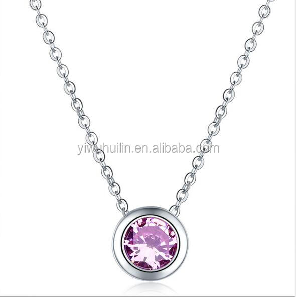 KS017 Huilin Jewelry Wholesale Crystal Round Zircon Pendant Long Silver Chain Necklace Patterns