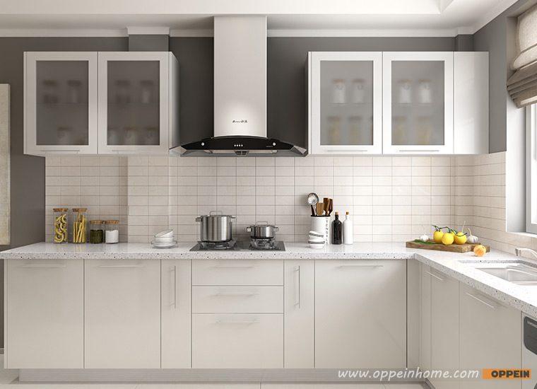 Guangzhou OPPEIN Wholesale White Lacquer Modular Kitchen Cabinet