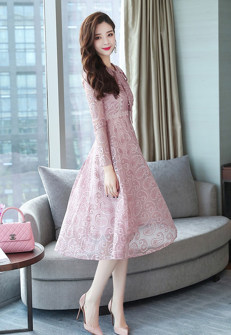 Clothing Woman Wholesale Bow Tie Long Sleeve Midi Lace