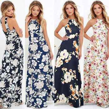 accf70dc34c 2018 Summer Maxi Long Dress Women Halter Neck Vintage Floral Print  Sleeveless Boho Dress 5XL Plus