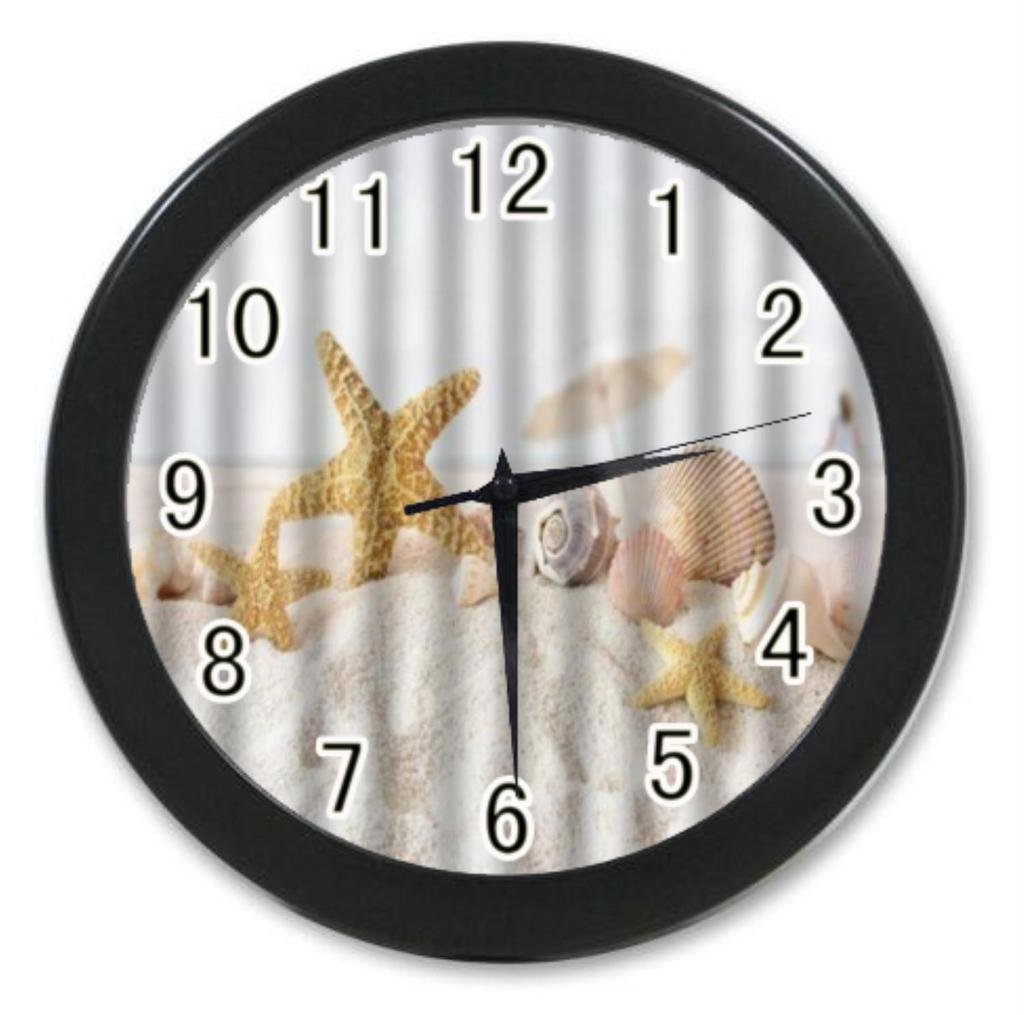 Laus Home Decoration Custom Unique and Generic Star fish sea shell beach Custom Printed Elegant Wall Clock Modern Design Watch 9.65